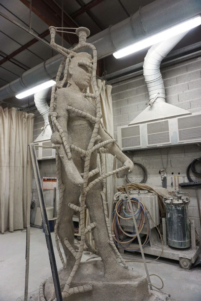 "One of ""Two Sisters"" ready for the bronze to be poured"